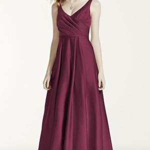Satin Tank Ball Gown Bridesmaid Dress - WINE